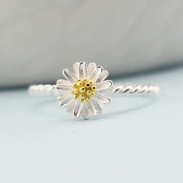 Daisy-open-925-Sterling-Silver-Rings-For-Women-simple-fashion-gold-chrysanthemum-Sterling-Silver-Jewelry-Bague
