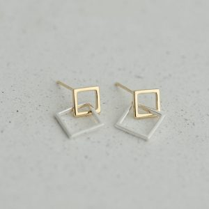 DOUBLE SQUARE DROP EARRINGS