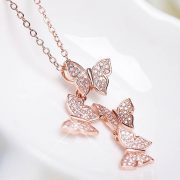 ROSE GOLD BUTTERFLY DROP NECKLACE