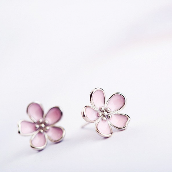 PINK FLOWER STUD EARRINGS