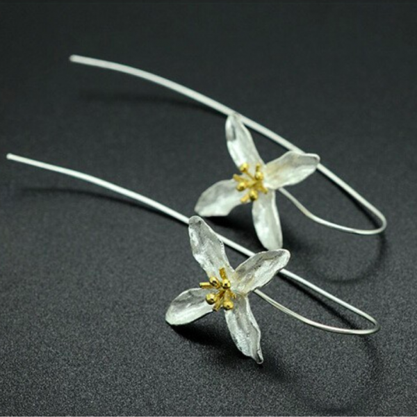 FLOWER DROP HOOK EARRINGS
