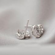 ENGRAVED HEART STUD EARRINGS