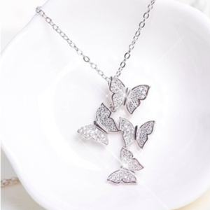 SILVER MULTI BUTTERFLY DROP NECKLACE