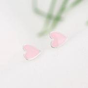 PINK HEART STUD EARRINGS