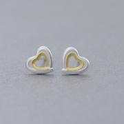 TWO-TONE HEART STUD EARRINGS