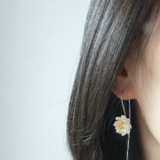 STERLING SILVER LOTUS FLOWER HOOK EARRINGS