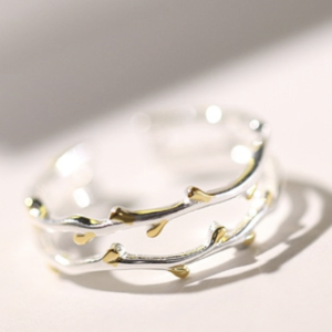 STERLING SILVER DOUBLE BANDED BRANCH RING