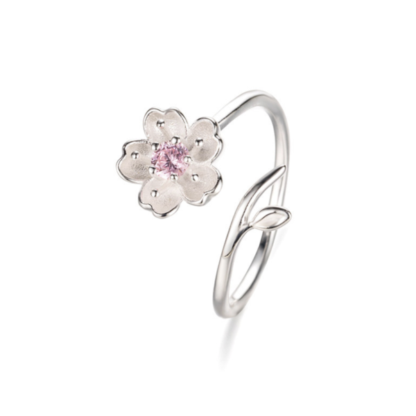 STERLING SILVER PINK RHINESTONE FLOWER WRAP RING