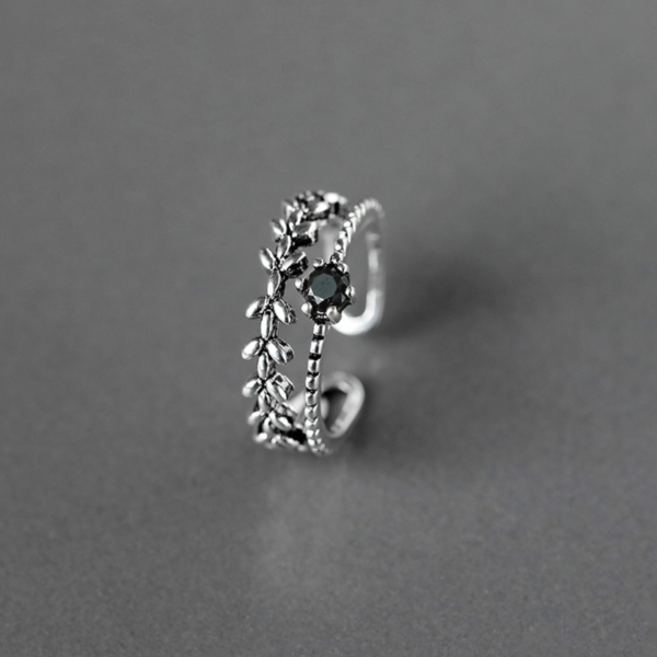 STERLING SILVER DOUBLE BAND BLACK RHINESTONE RING