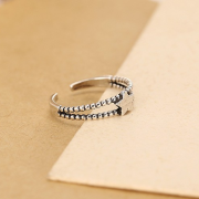 STERLING SILVER DOUBLE BAND STAR RING