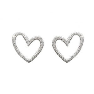 BRUSHED SILVER HEART STUD EARRINGS