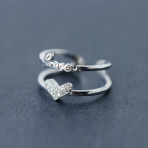 STERLING SILVER DOUBLE BANDED LOVE HEART RING