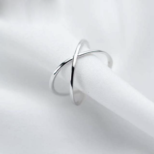 STERLING SILVER DOUBLE BANDED CROSS RING